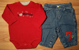 "Boy's Size 3-6 M Months 2 Piece Red ""I Love Mommy"" Carters Top & Footbal... - $14.00"