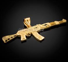 10K Solid Yellow Gold AK-47 Rifle Gun Diamond-Cut Pendant - $329.99