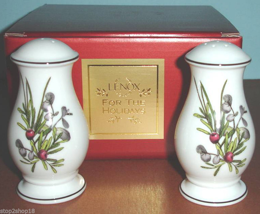 Lenox Etchings Salt & Pepper Shakers Set Made in USA Retail $100 Boxed NEW