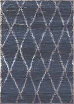 Symphony Area Rug (5'2'' X 7'6'') Design 27011 Blue Beige Ivory Cream Trellis Mo - $69.00