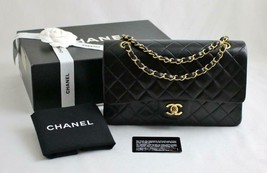 "CHANEL MED/LRG 10"" Vintage Black LAMBSKIN Leather AUTHENTICATED Flap Bag... - $3,094.30"