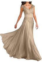 Blevla V Neck Prom Dress Chiffon Mother Of The Bride Dresses Champagne US 2 - $189.99