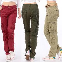 Women Denim cotton Cargo Pants Leisure Trousers more Pocket pants for ladies