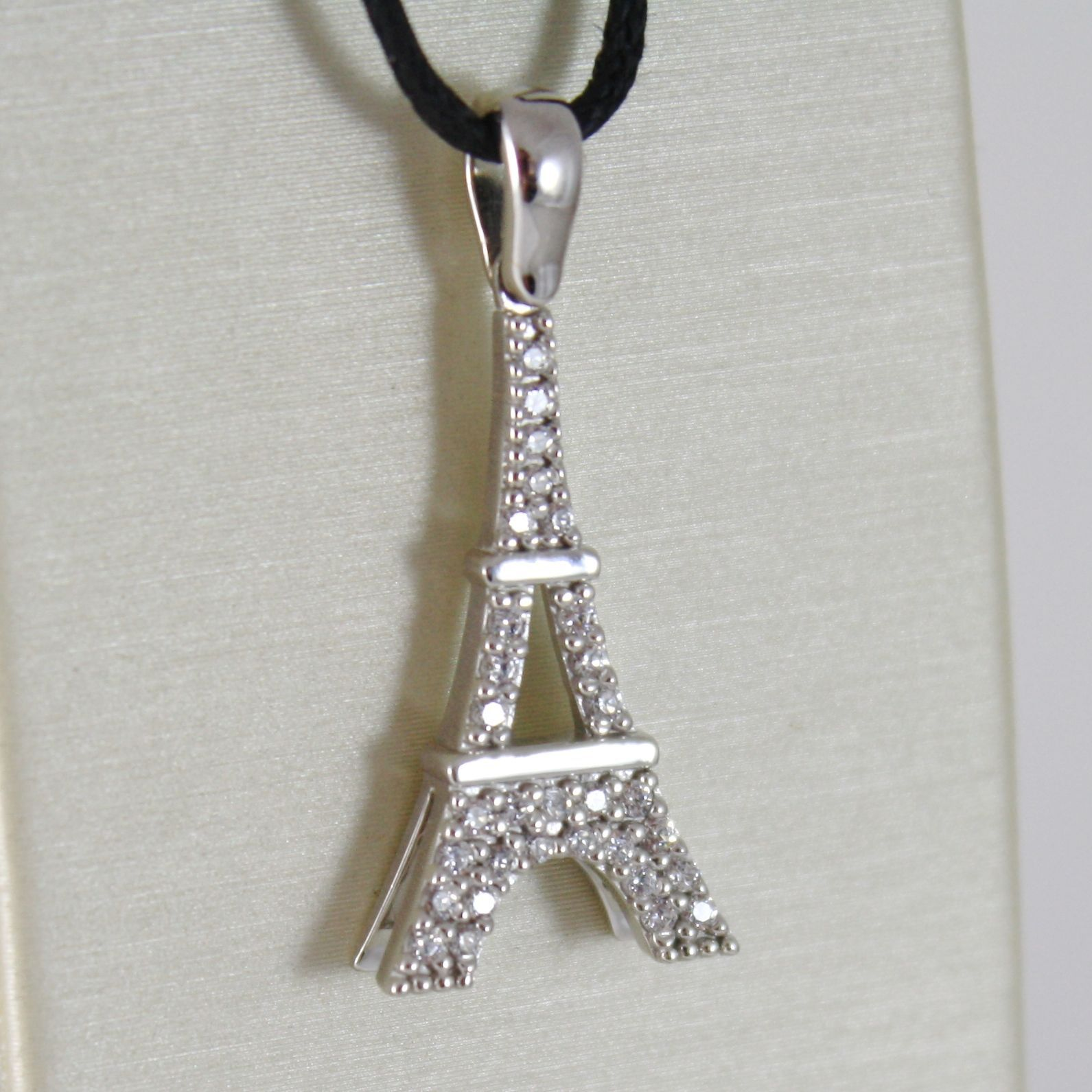WHITE GOLD PENDANT 750 18K, EIFFEL TOWER, LONG 2.8 CM WITH ZIRCON