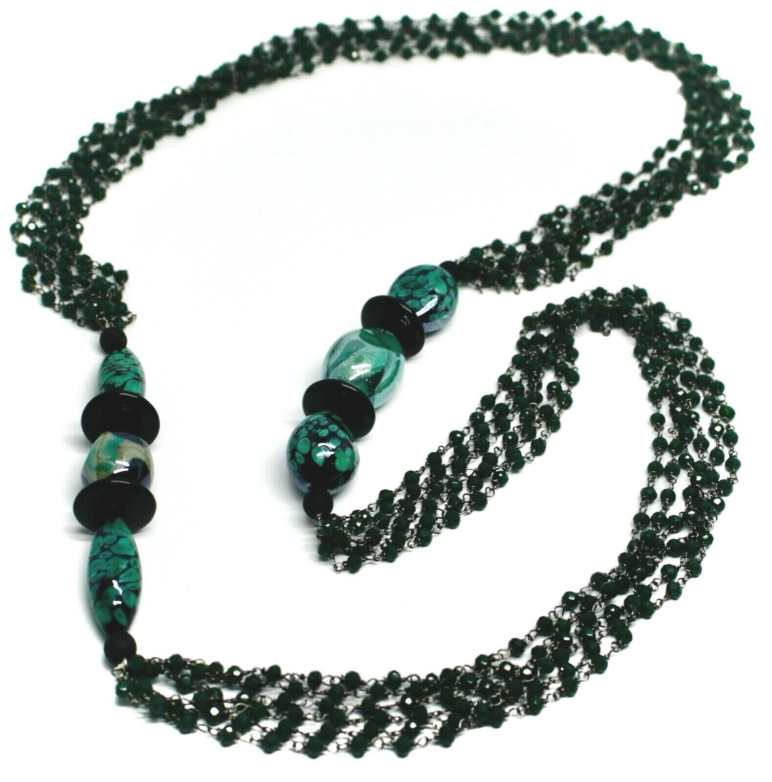 "NECKLACE BLACK, GREEN SPOTTED DROP OVAL MURANO GLASS, MULTI WIRES, 90cm 35"" LONG"