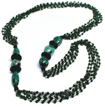 "NECKLACE BLACK, GREEN SPOTTED DROP OVAL MURANO GLASS, MULTI WIRES, 90cm 35"" LONG image 1"