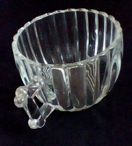 """Jeanette Glass National Tea Cup Clear Ribbed 2 3/8"""" Tall Fence Post Handle - $5.88"""
