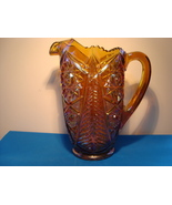 L E Smith irdescent gold hob star valtec tree pitcher. - $25.00