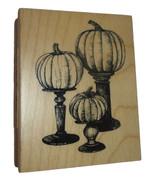 Pumpkins Pedestal Rubber Stamp New Fall Halloween Inkadinkado Wood Mount... - $8.72