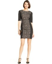 Sandra Darren Dress Sz 16 Black Nude Laced Short Sleeve Cocktail Dinner ... - $41.82