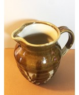 Artisan Pottery: Brown & Cream Stoneware Pitcher with spout and handle (... - $40.00