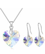 SHDEDE Heart Crystal from Swarovski Long Drop Earrings Necklace Jewelry ... - $24.62