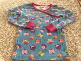Kirkland Girls Blue Pink Green Owls Long Sleeve Snug Pajama Shirt 10 - $6.43