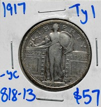 1917 Type 1 Standing Liberty Silver 25¢ Quarter Coin Lot 818-13