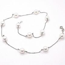 Necklace White Gold 18K, White Pearls Akoya 8.5 mm, Alternate Chain Vene... - $875.56