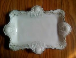 """VICTORIAN WHITE MILK GLASS 7""""x10"""" TRINKET VANITY TRAY - BERRIES FRUIT DE... - $14.84"""