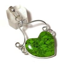 Mohave Green Turquoise Gemstone 925 Silver Overlay Handmade Design Heart... - $12.95