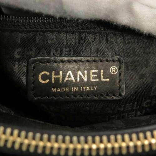 CHANEL Icon Chain Shoulder Bag Leather Knit Black Multi Color CC Logo Authentic image 11