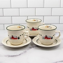 Pfaltzgraff Set of 3 Saucer & Tea Cup Snow Village Barn Scene & Angel Coffee Mug - $14.24