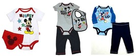 Disney Infant Baby Boy's Outfits Mickey Mouse Bodysuit Diaper Cover Pants Bib