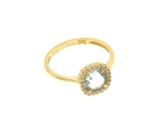 18K YELLOW GOLD RING CUSHION SQUARE BLUE TOPAZ AND CUBIC ZIRCONIA FRAME