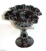 Fenton Black Glass Low Thumbprint Footed Compote Comport Foot Bowl bfm004b - $24.99