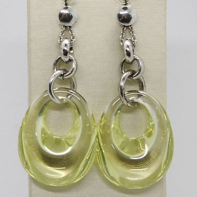 EARRINGS SILVER 925 TRIED AND TESTED HANGING WITH ZIRCON CUBIC YELLOW STYLIZED