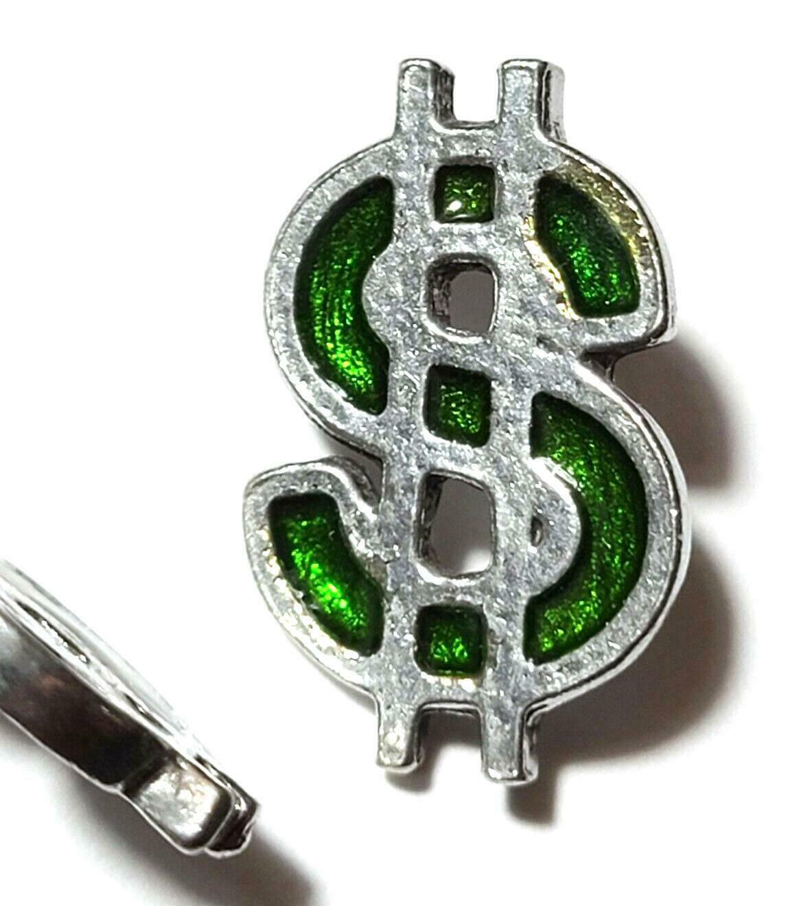 Green Dollar Sign Fine Pewter Pin - 7/8 inches long X 5/8 inches wide (T250)