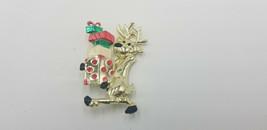 Vintage Gold Tone  Walking Reindeer Balancing Colorful Presents Pin / Br... - $19.32