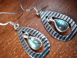 Labradorite Hoop Dangling 925 Sterling Silver Dangle Earrings New - $20.29