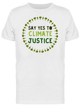Say Yes To Climate Justice Forest Tree Wreath Graphic Men's White T-shirt image 1