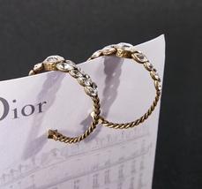 AUTH NEW Christian Dior 2019 Dio(r)evolution CRYSTAL AGED GOLD HOOP EARRINGS  image 5