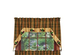 Olivia's Heartland country Woods Bear Moose hunting cabin lodge Swags curtain - $49.95