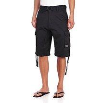 JMC Men's Premium Cotton Slim Fit Cargo Shorts With Woven Belt (30W, Black)
