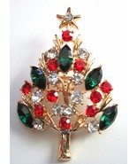 BEAUTIFUL RED, GREEN, & CRYSTAL RHINESTONE CHRISTMAS TREE BROOCH PIN - $15.99