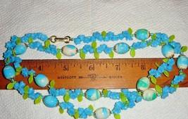 Vtg 1950's Lucite Blues Floral Flower Garden Verigate Bead Long Or Wrap Necklace - $167.99