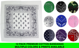 "12 Pack Premium Cotton Head Wrap Scarf Bandana Multiple Colors 22"" X 22"""