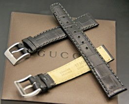 New Gucci 17 MM Black Alligator Pattern on Genuine Leather Watch Band  (17.115) - $32.95+