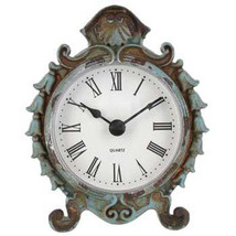 Table Clock Mantle Clock Chic Vintage Style Small Shabby Teal Clock Ornate