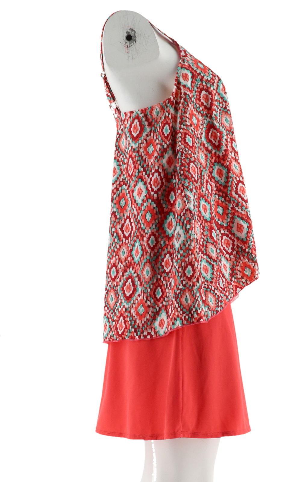 Denim& Co Beach Hi-Low Tankini Swimsuit Skirt Coral Ikat 16 NEW A303155