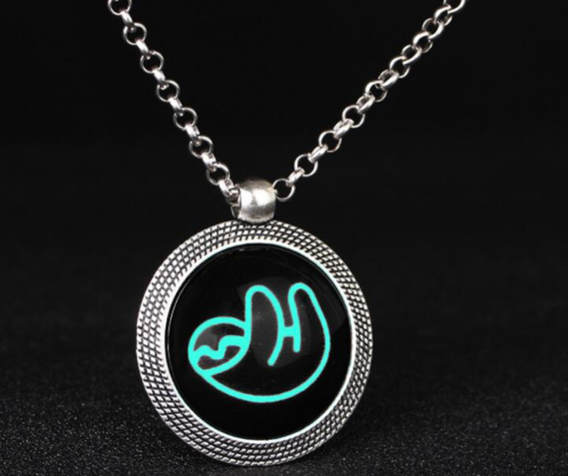 Glow In The Dark Sloth Necklaces & Pendants Round Animal