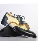 Handmade Men Black Leather Embroidered Laceup Shoes - $149.99