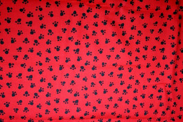 BLACK PAWS ON RED FROM MICHAEL MILLER- 100% COTTON FABRIC - $7.91