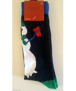 Mens 6-12 Novelty Fun Crew Socks Snowman New Navy Blue Christmas Holiday... - $12.00