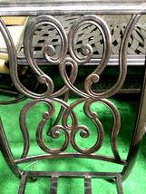 11 piece aluminum outdoor dining set patio chairs table Santa Anita bronze image 5