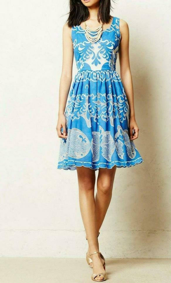 Anthropologie Azure Lace Dress Plenty by Tracy Reese Sz 0P image 4