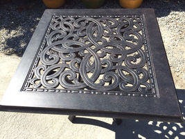 """Patio end table 24"""" square outdoor cast aluminum accent pool side furniture. image 5"""