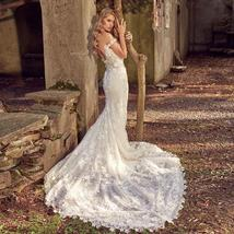 Floral Lace Crystal Appliques Mermaid Wedding Dresses With Detachable Train image 4