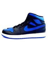 New Nike Air Jordan 1 Mid Sneakers Black Blue 554724-068 Mens Size 10 - $149.99