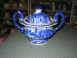 Victoria Ware Ironstone Blue/White Pedestal Casserole Soup Tureen W/Lid ... - $116.19